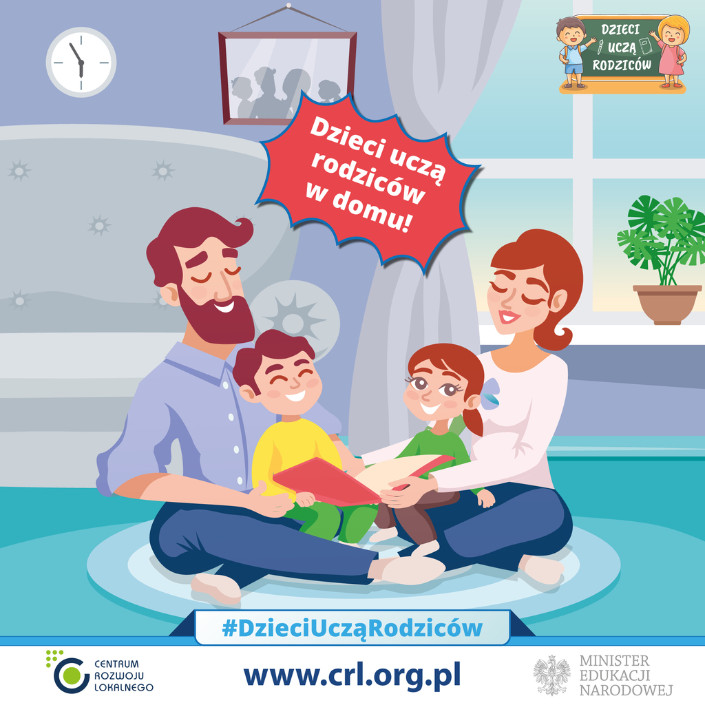 """Plakat akcji edukacyjnej """"Dzieci uczą rodziców"""". Rodzina siedząca na dywanie, w środku dzieci trzymające książkę."""