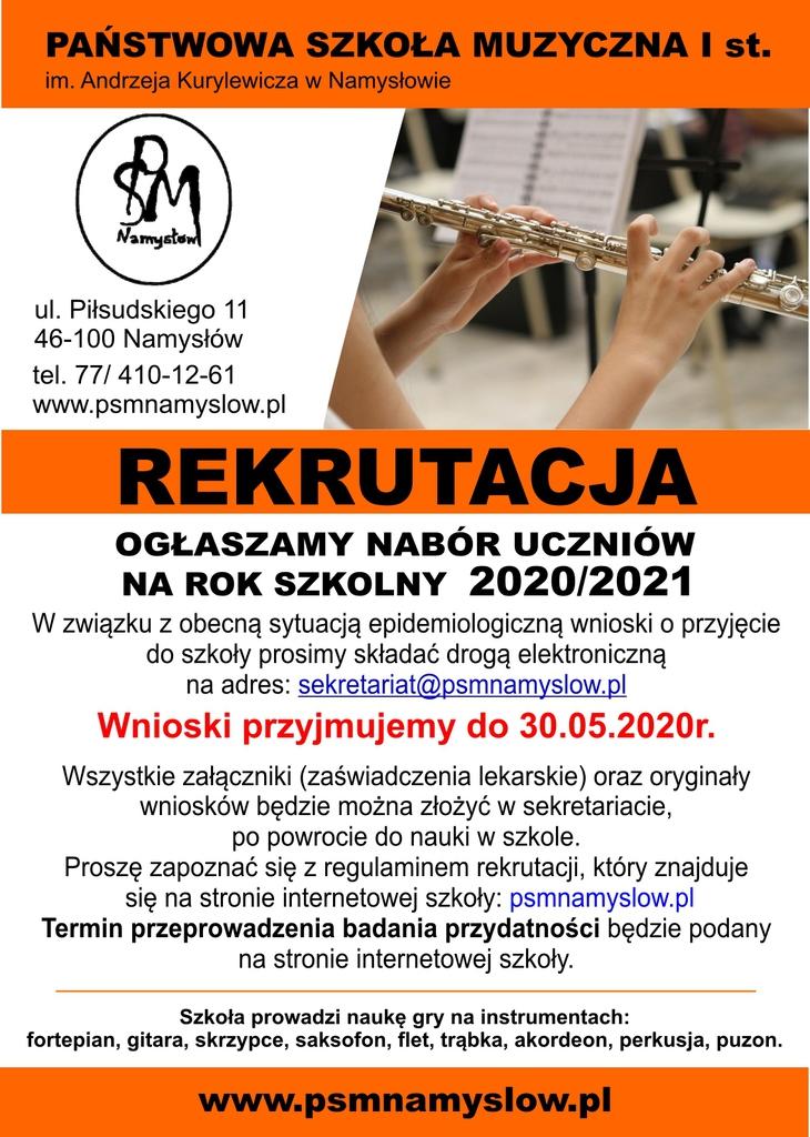 Plakat Szkoły Muzycznej w Namysłowie - rekrutacja na rok 2020 2021