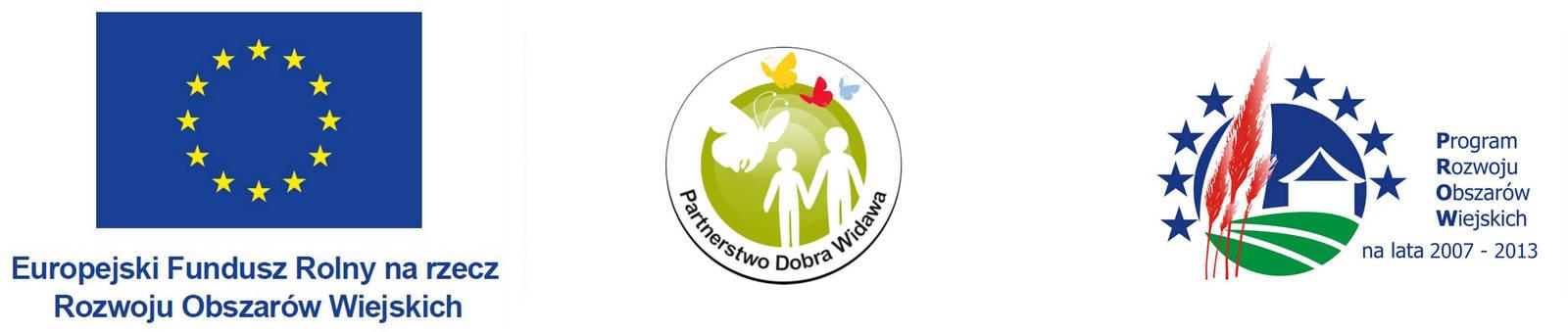Baner zawierający logo Programu Rozwoju Obszarów Wiejskich, logo stowarzyszenia Lokalna Grupa Działania Dobra Widawa oraz symbol Unii europejskiej z dopiskiem Europejski Fundusz Rolny na rzecz Rozwoju Obszarów Wiejskich