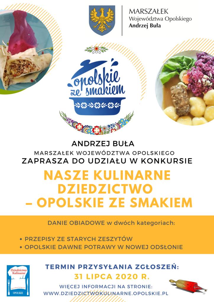 Plakat konkursu organizowanego przez Marszałka Województwa Opolskiego pt. Nasze Kulinarne Dziedzictwo – Opolskie ze smakiem