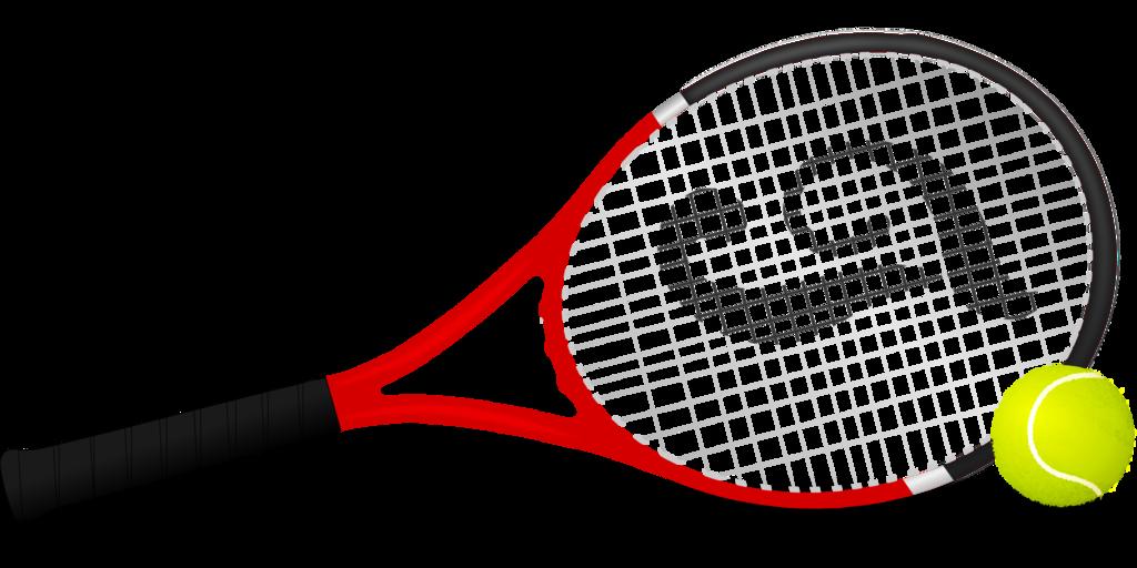 Czarno czerwona rakieta do tenisa ziemnego, obok zielona piłka tenisowa