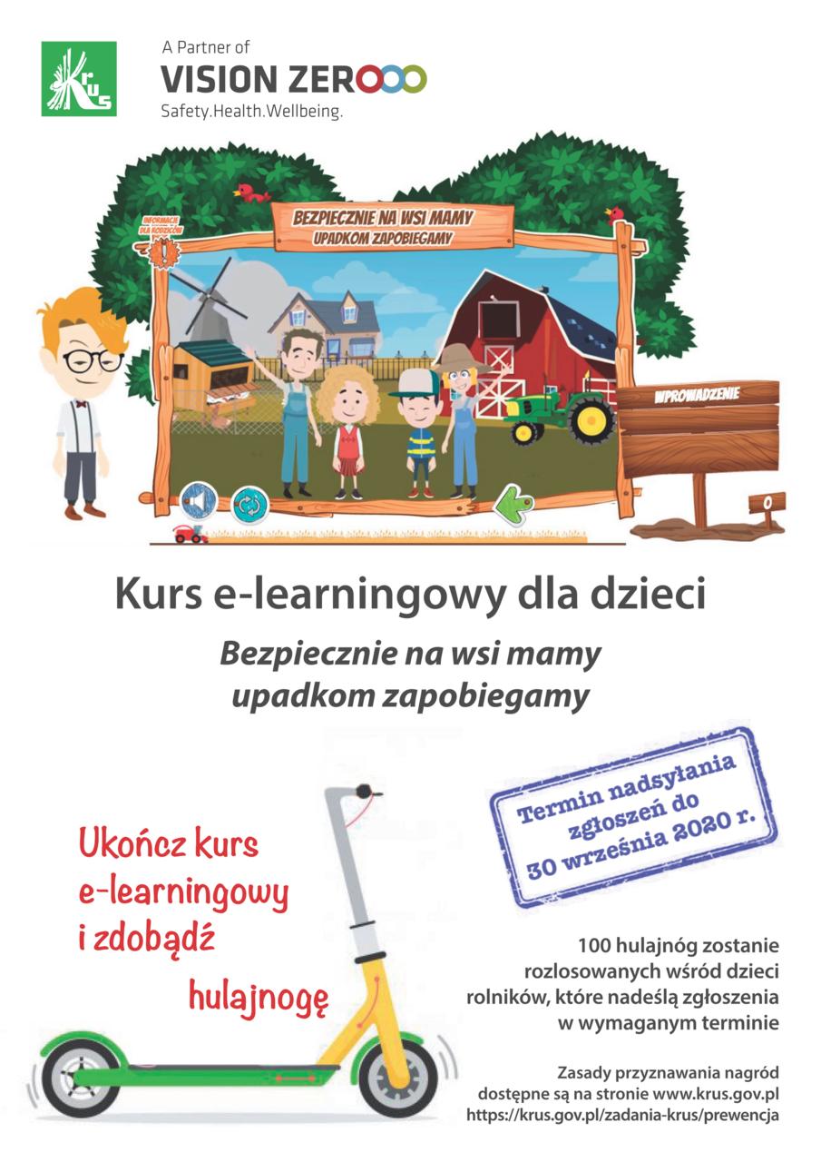 """Plakat Kasy Rolniczego Ubezpieczenia Społecznego promujący szkolenie e-learningowe dla dzieci """"Bezpiecznie na wsi mamy – upadkom zapobiegamy"""""""