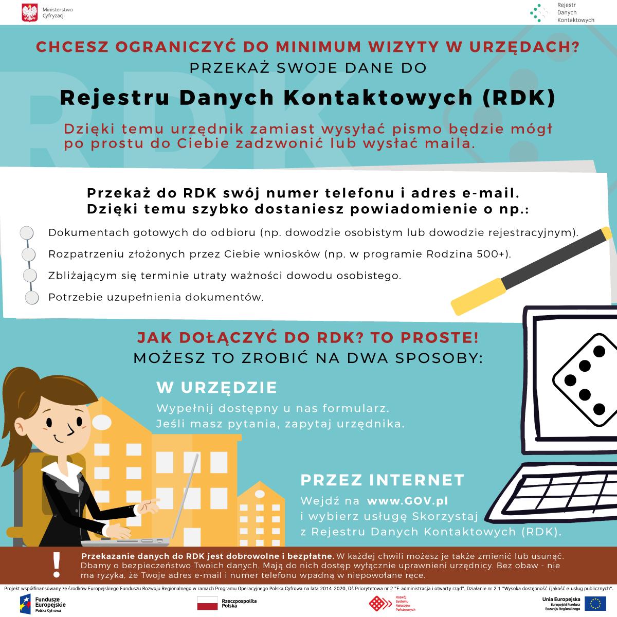 Plakat Ministerstwa Cyfryzacji promujący Rejestr Danych Kontaktowych
