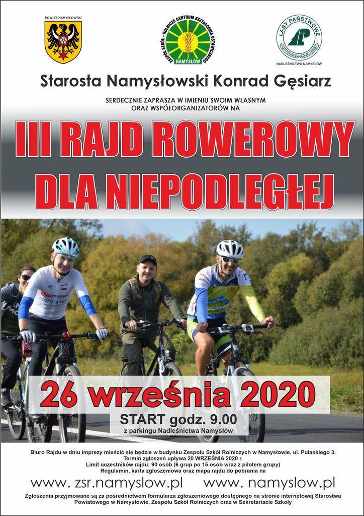 Plakat zapraszający na III Rajd Rowerowy dla Niepodległej, organizowany przez Starostę namysłowskiego.