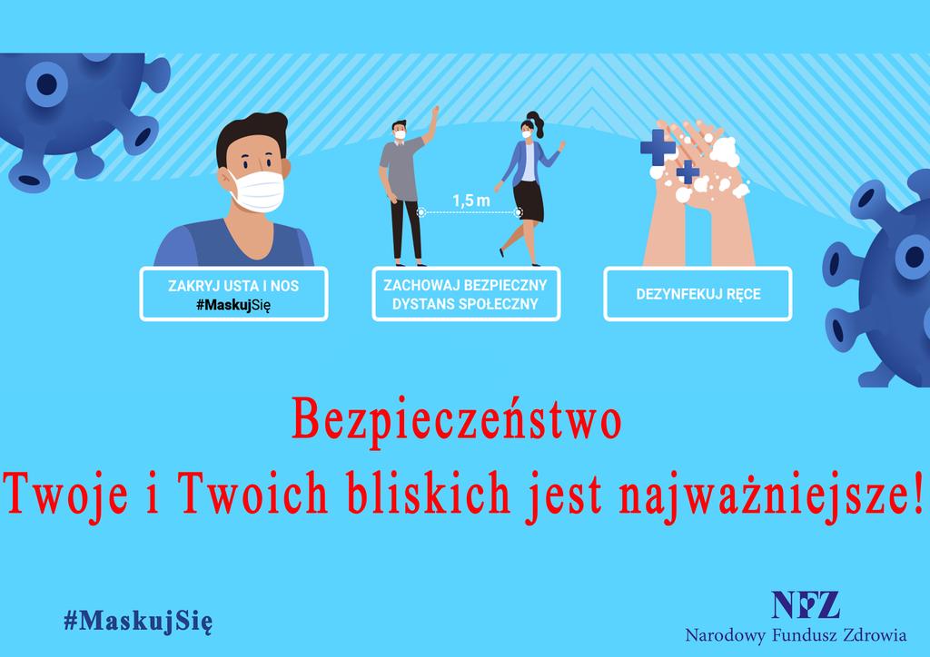 Plakat Narodowego Funduszu Zdrowia-Chroń siebie i innych