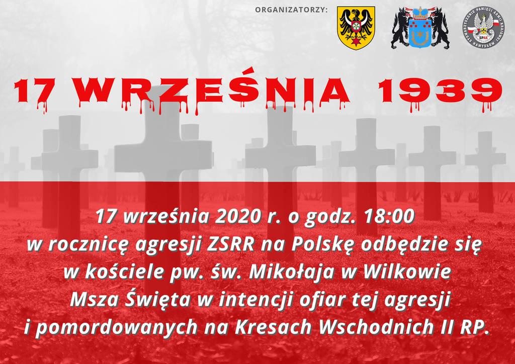 Plakat zapraszający na Mszę Świętą w intencji ofiar agresji ZSRR na Polskę oraz pomordowanych na Kresach Wschodnich w dniu 17 września 2020 r. godz. 18:00.