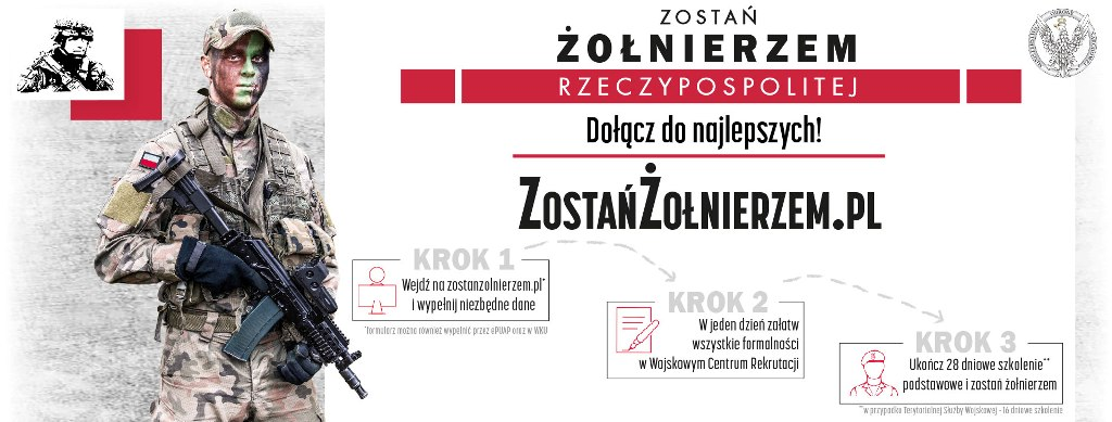 Plakat informujący o nowym systemie rekrutacji do Wojska Polskiego.