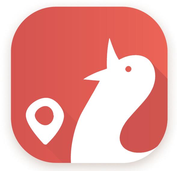 Główna ikonka aplikacji mobilnej KULTURALNA DOBRA WIDAWA. Na ceglastym kwadracie o zaokrąglonych rogach od prawej strony umieszczony jest biały kogucik, z lewej strony znajduje się ikonka znacznika miejsca - lokalizatora w kolorze białym.