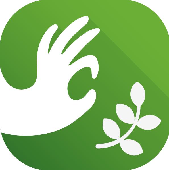 Główna ikonka aplikacji mobilnej NATURALNA DOBRA WIDAWA. Na zielonym kwadracie o zaokrąglonych rogach od lewej strony umieszczona jest biała dłoń w geście OK – palec wskazujący złączony z kciukiem. W prawym dolnym roku znajduje się zielona gałązka z pięcioma listkami.
