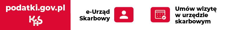 Baner Krajowej Administracji Skarbowej promujący akcję rezerwacji wizyt w urzędzie skarbowym.