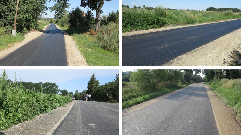 Obraz przedstawia cztery zdjęcia, na których widać nowo położony pas asfaltu na tle zieleni okolicznej roślinności.