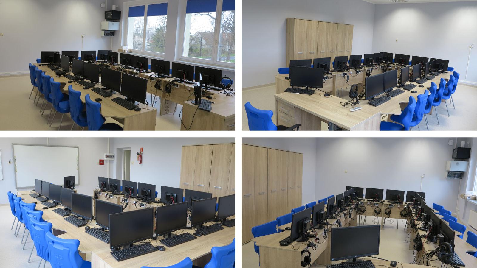 Obraz przedstawia cztery ujęcia odnowionej sali informatycznej, gdzie po środku stoją jasne biurka, na nich stoją czarne monitory komputerowe wraz z słuchawkami oraz pozostałym osprzętem. Do biurek są przysunięte krzesła uczniowskie koloru niebieskiego.