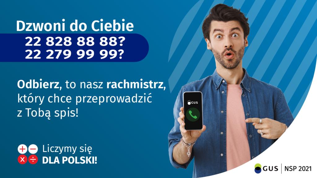 Plakat informujący o nr telefonu, z którego dzwoni Rachmistrz w sprawie spisu. Nr tel. 228288888