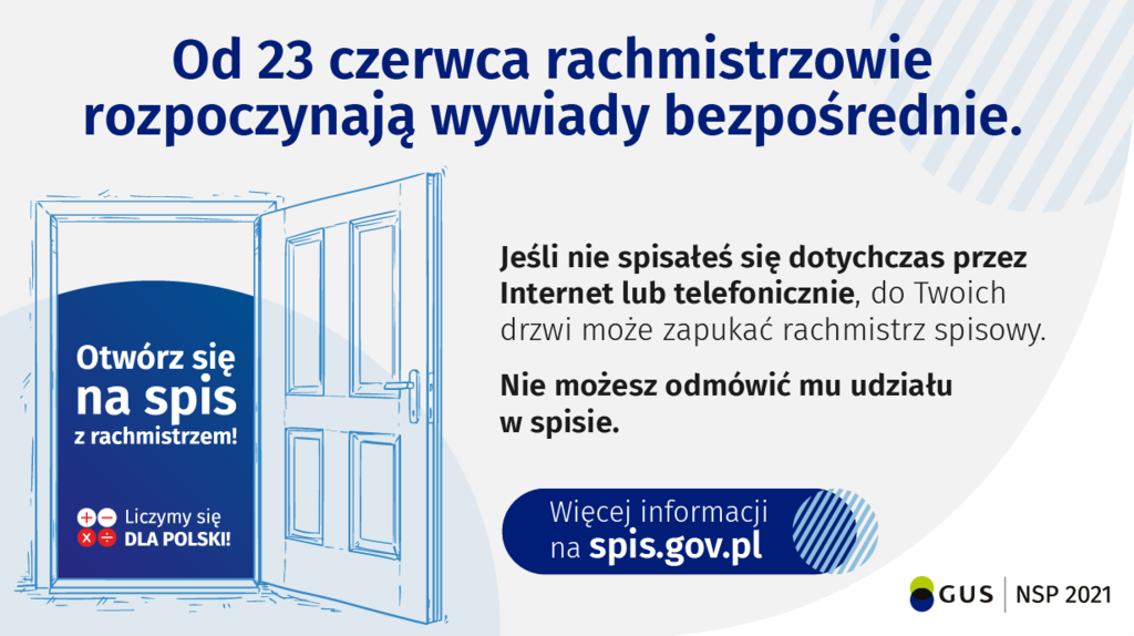 Plakat promocyjny akcji wyjścia w teren Rachmistrzy - materiał promocyjny GUS bez opisu