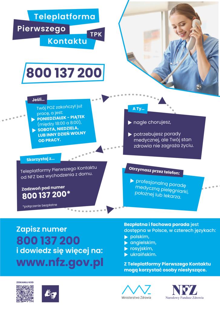Plakat Narodowego Funduszu Zdrowia dotyczący Teleplatformy Pierwszego Kontaktu (TPK)
