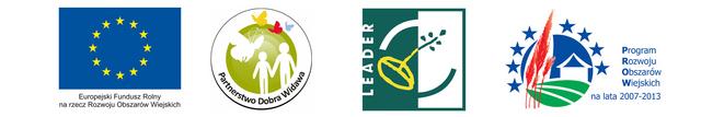 Baner zawierający logo Programu Rozwoju Obszarów Wiejskich, logo stowarzyszenia Lokalna Grupa Działania Dobra Widawa, logo Inicjatywa Wspólnotowa LEADER oraz symbol Unii europejskiej z dopiskiem Europejski Fundusz Rolny na rzecz Rozwoju Obszarów Wiejskich
