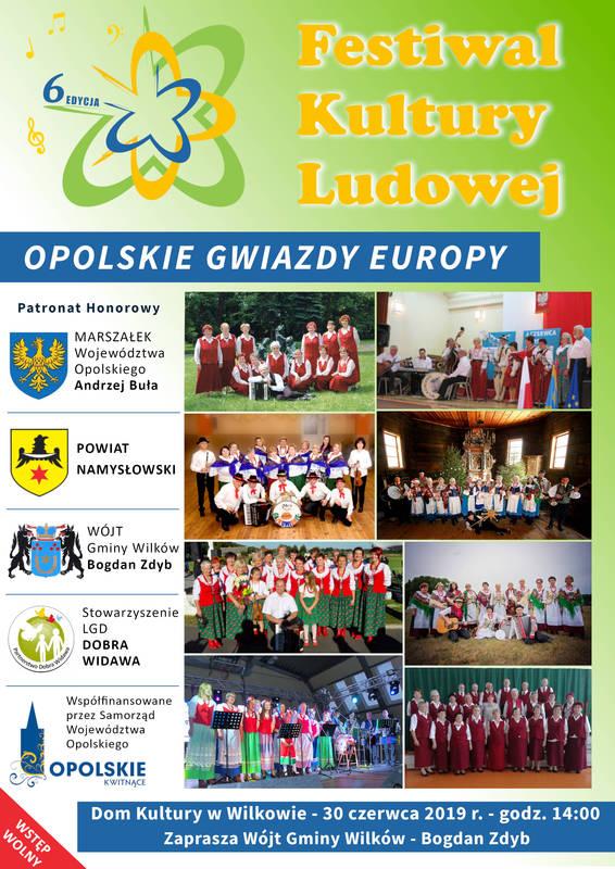 Plakat promujący Festiwal Kultury Ludowej w Wilkowie. Przedstawia zdjęcia zespołów oraz loga organizatorów.