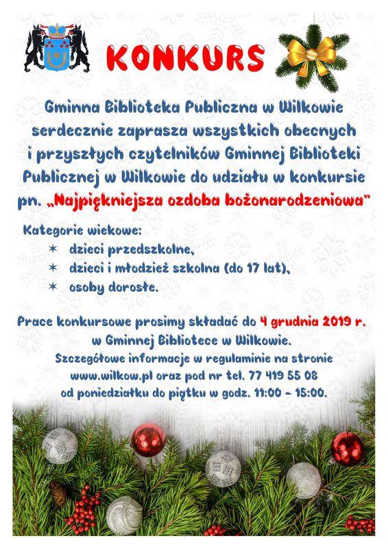 Plakat promujący konkurs pt. Najpiękniejsza ozdoba bożonarodzeniowa