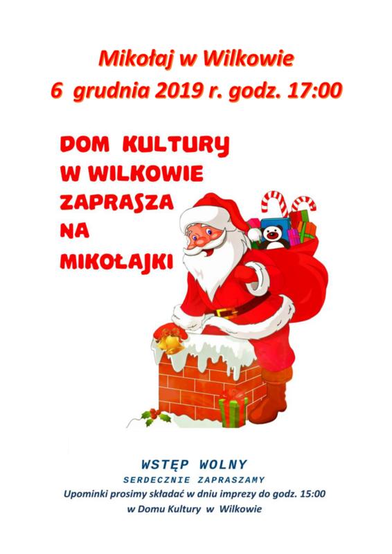 Plakat promujący spotkanie z Mikołajem w roku 2019 przedstawiający rysunek Mikołaja z workiem pełnym prezentów.